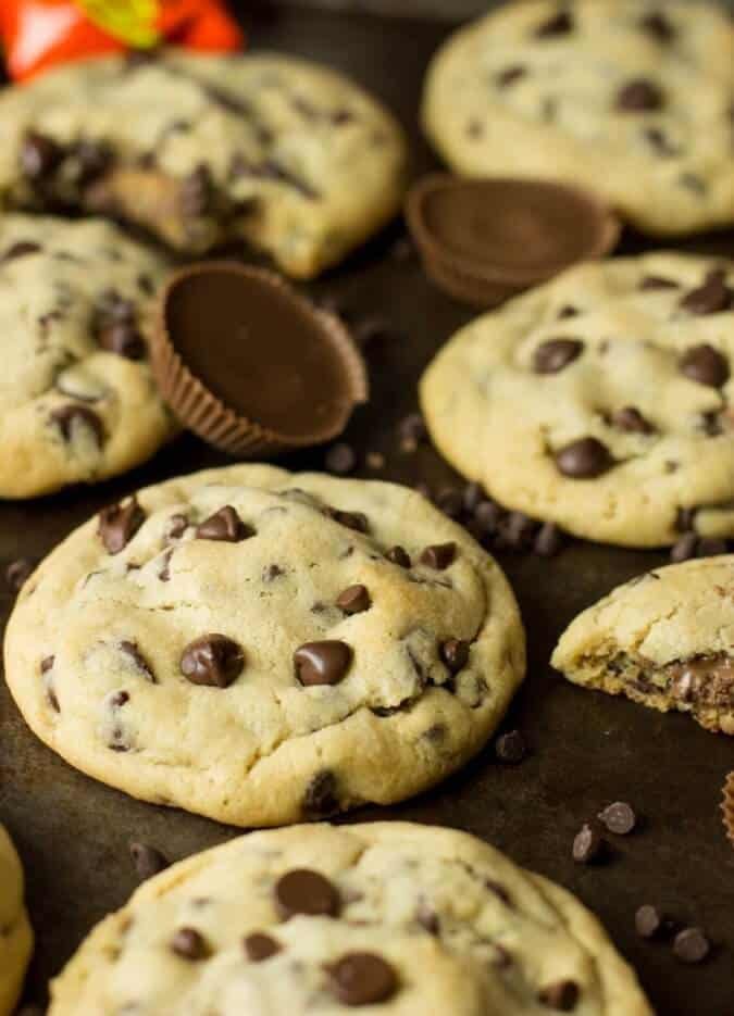 Peanut Butter Cup Stuffed Chocolate Chip Cookies - Sugar ...