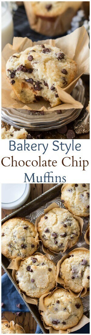 Bakery style chocolate chip muffins with big fluffy muffin tops ...