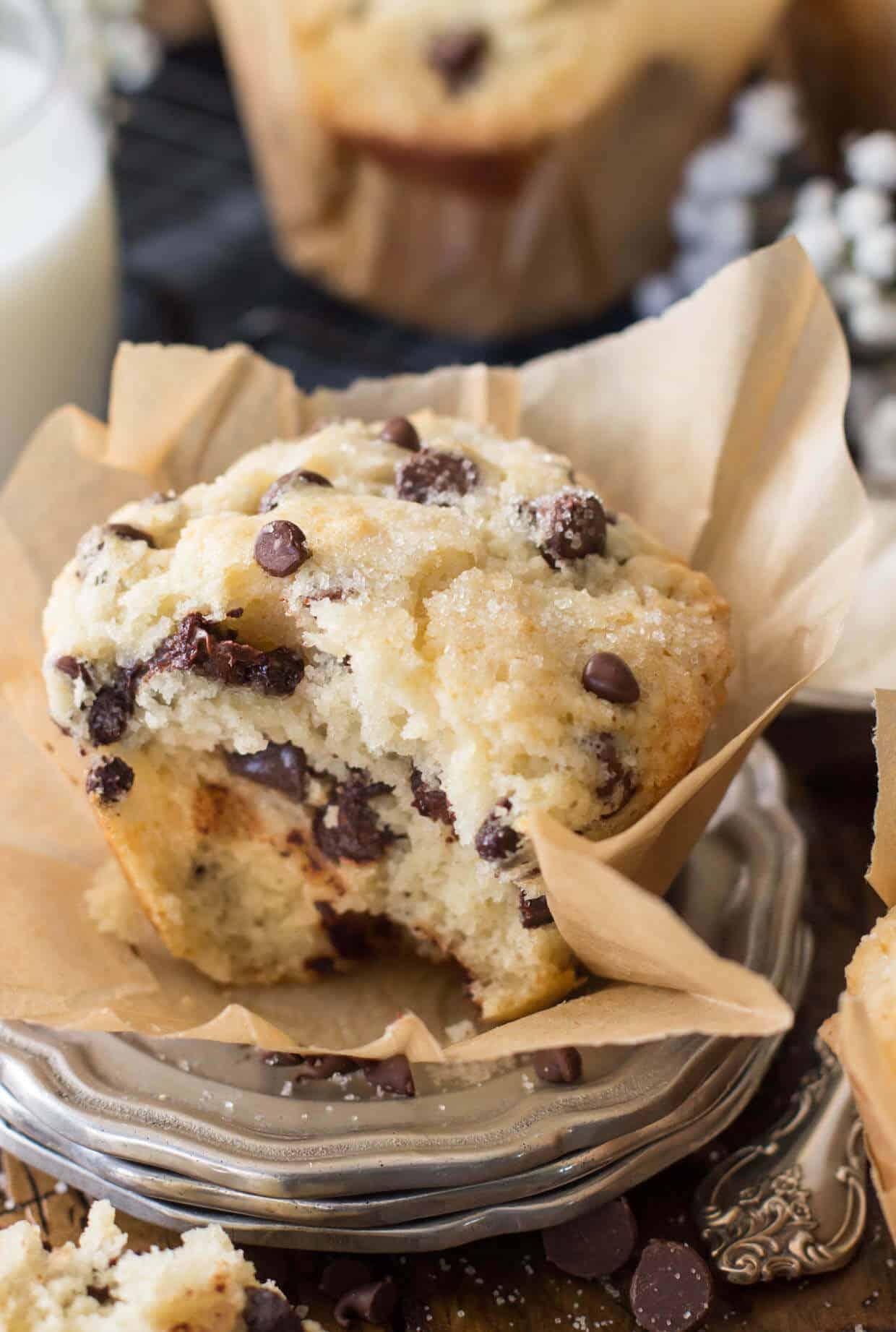 Bakery Style Chocolate Chip Muffins - Sugar Spun Run