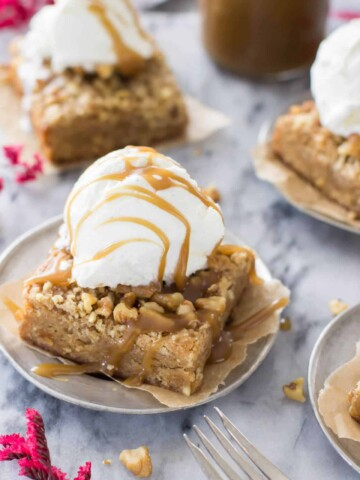Brown butter maple bar with scoop of ice cream