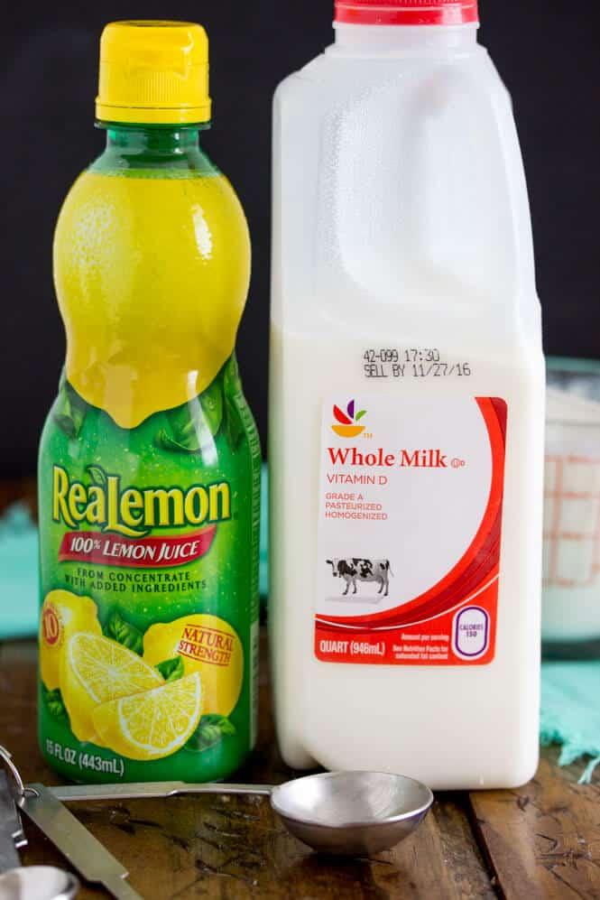 Ingredients (lemon juice and milk)