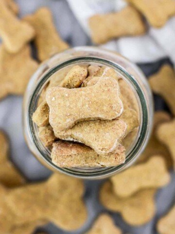 Overhead shot of jar filled with homemade dog treats