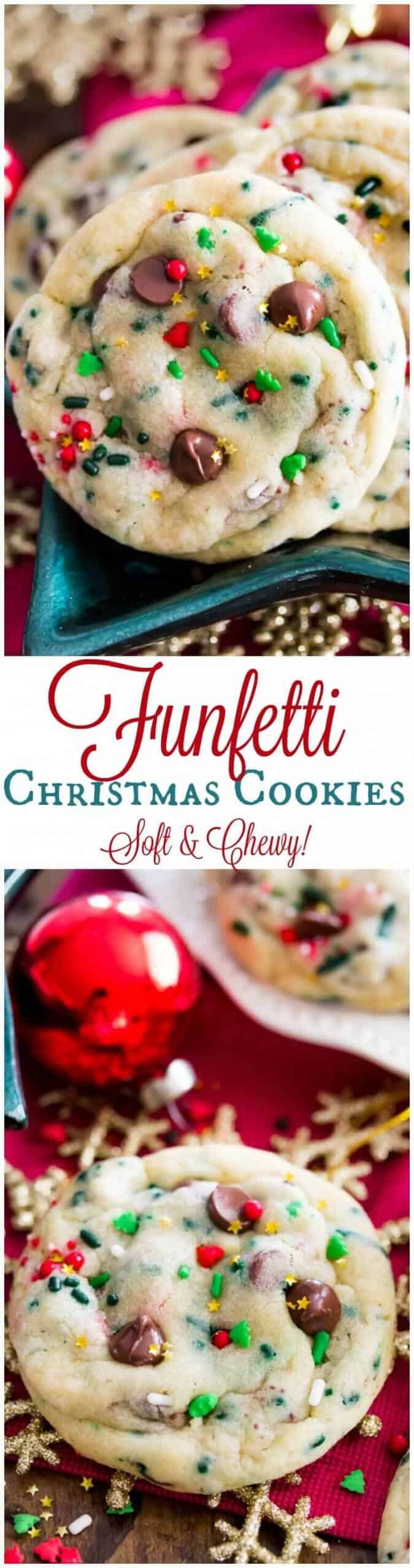 Funfetti Christmas Cookies, soft, chewy, and festive! || Sugar Spun Run