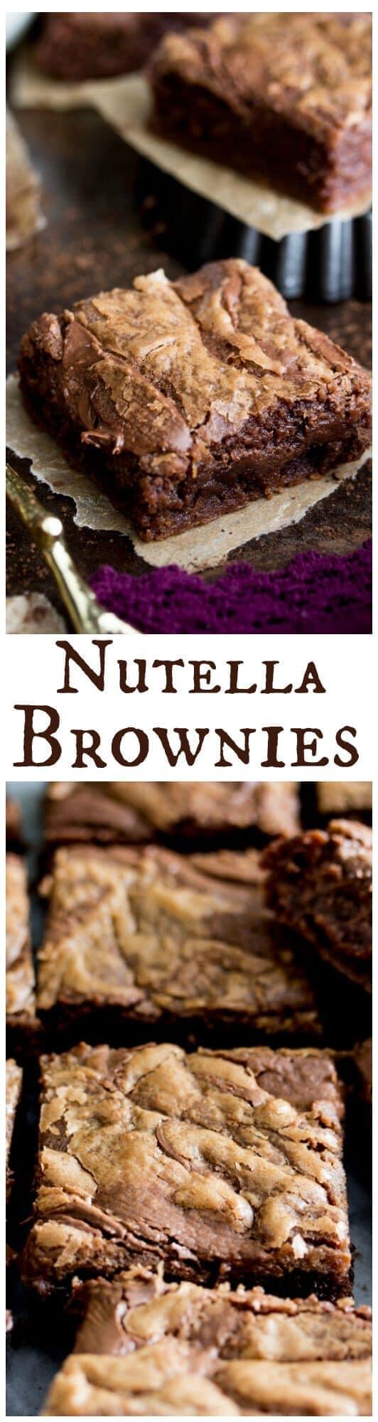 Nutella Brownies -- rich Nutella flavor baked into bars || Sugar Spun Run