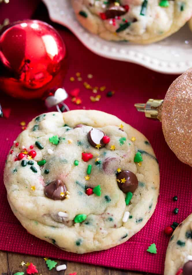 Funfetti Christmas Cookies, soft, chewy, and festive!    Sugar Spun Run