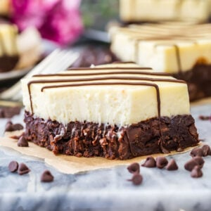 Cheesecake brownie with bite out of it
