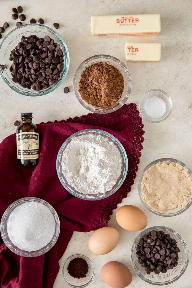 Ingredients needed to make brownies