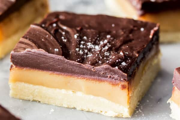 Caramel Millionaire's Shortbread bar.  Layer of shortbread, caramel, and chocolate topped with sea salt.