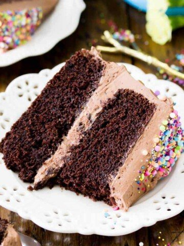 Slice of chocolate cake with chocolate buttercream frosting