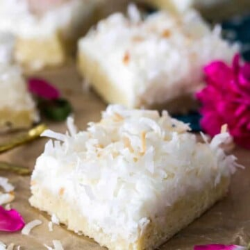 Coconut Cream Bars -- a light coconut frosting over buttery cookie bars || Sugar Spun Run