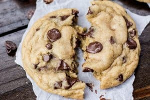 Chewy, soft chocolate chip cookies fresh out of the oven