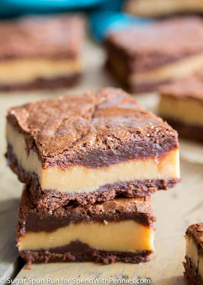 Peanut butter fudge brownie bars stacked