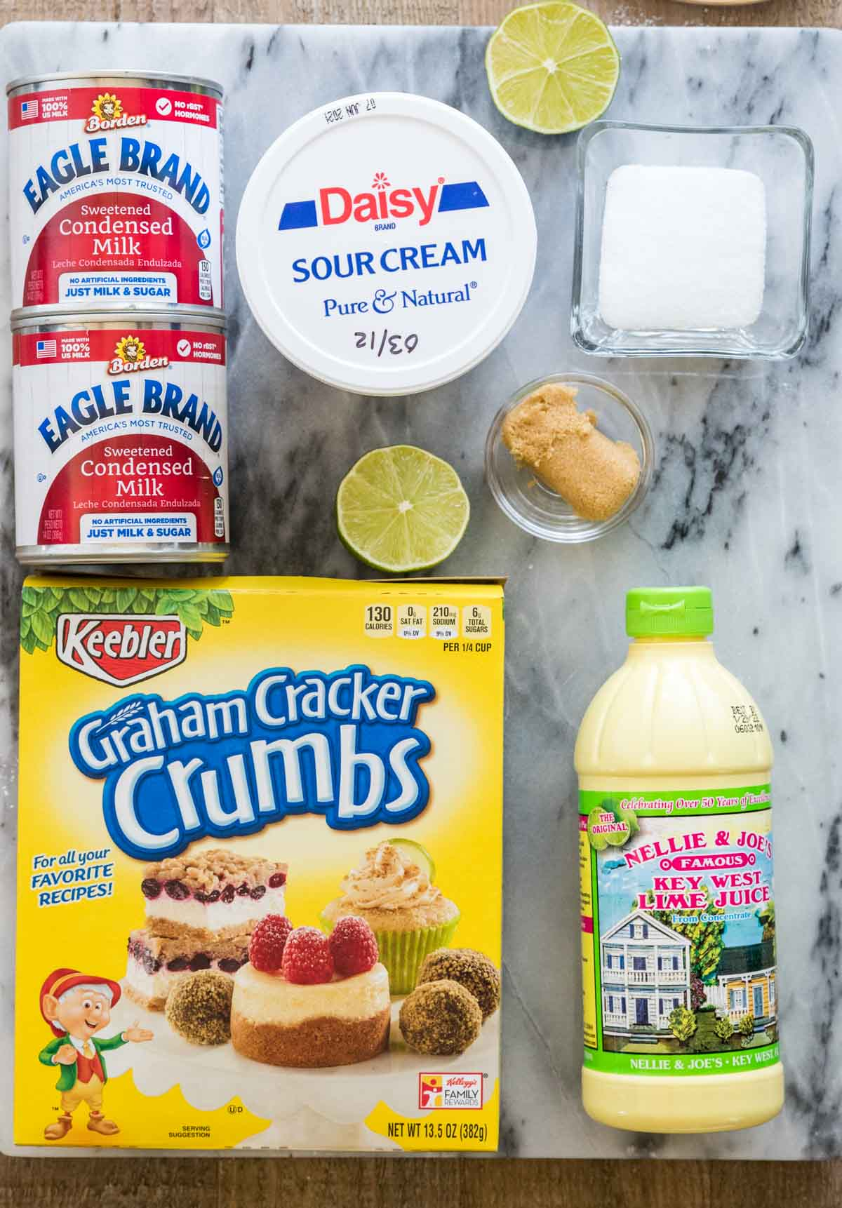 Ingredients for Key Lime Pie Bars