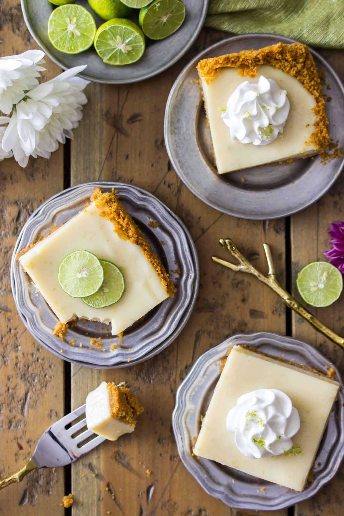 Overhead of key lime pie bars