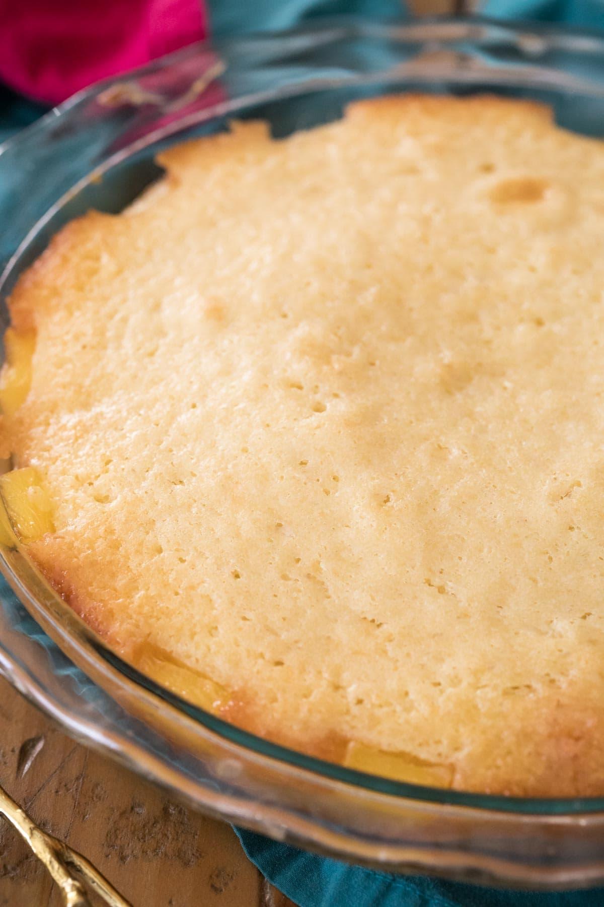 freshly baked pineapple upside down cake before inverting