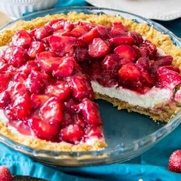 Refreshing slice of strawberry cream cheese pie