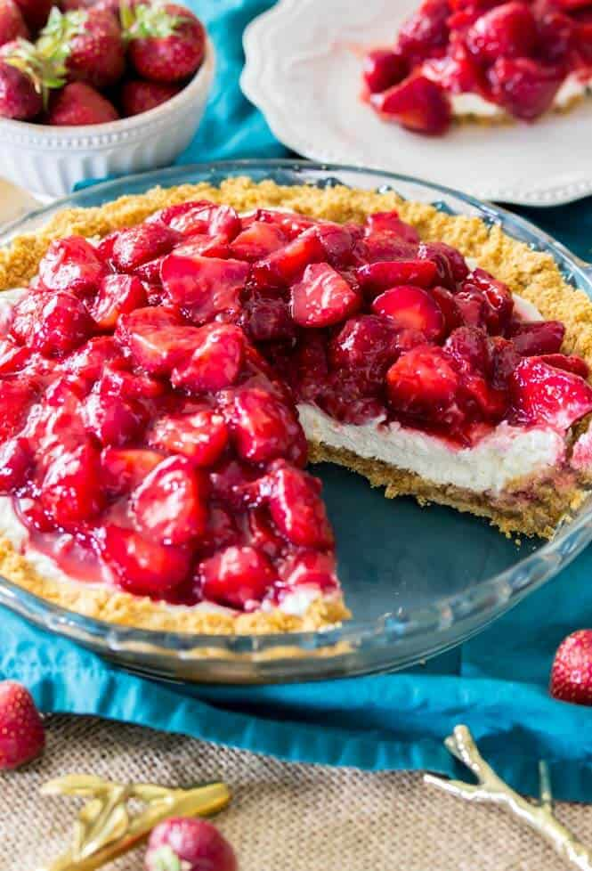 Refreshing slice of strawberry cream cheese pie