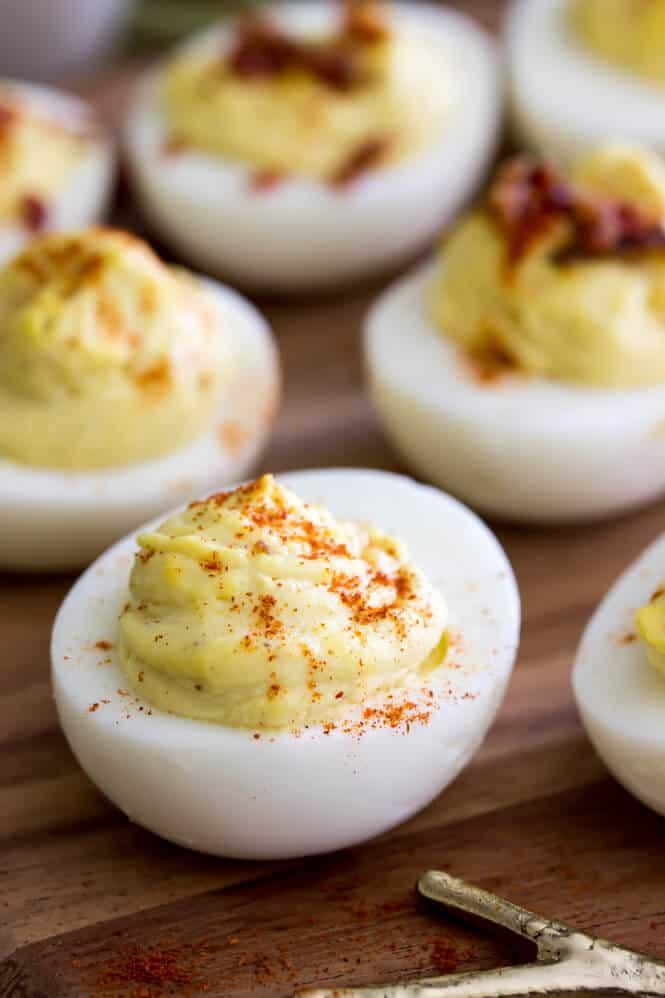 Deviled eggs sprinkled with paprika