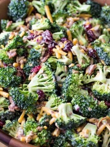 broccoli salad in wood bowl