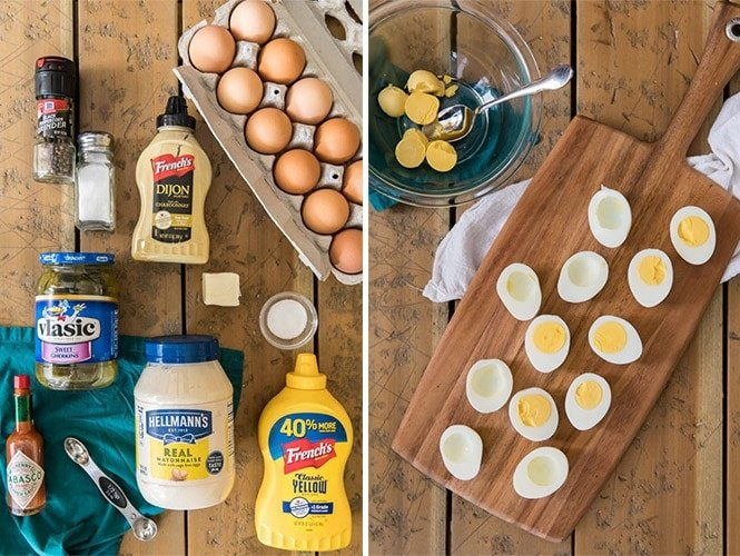 Ingredients for Deviled Eggs and removing yolks from the whites