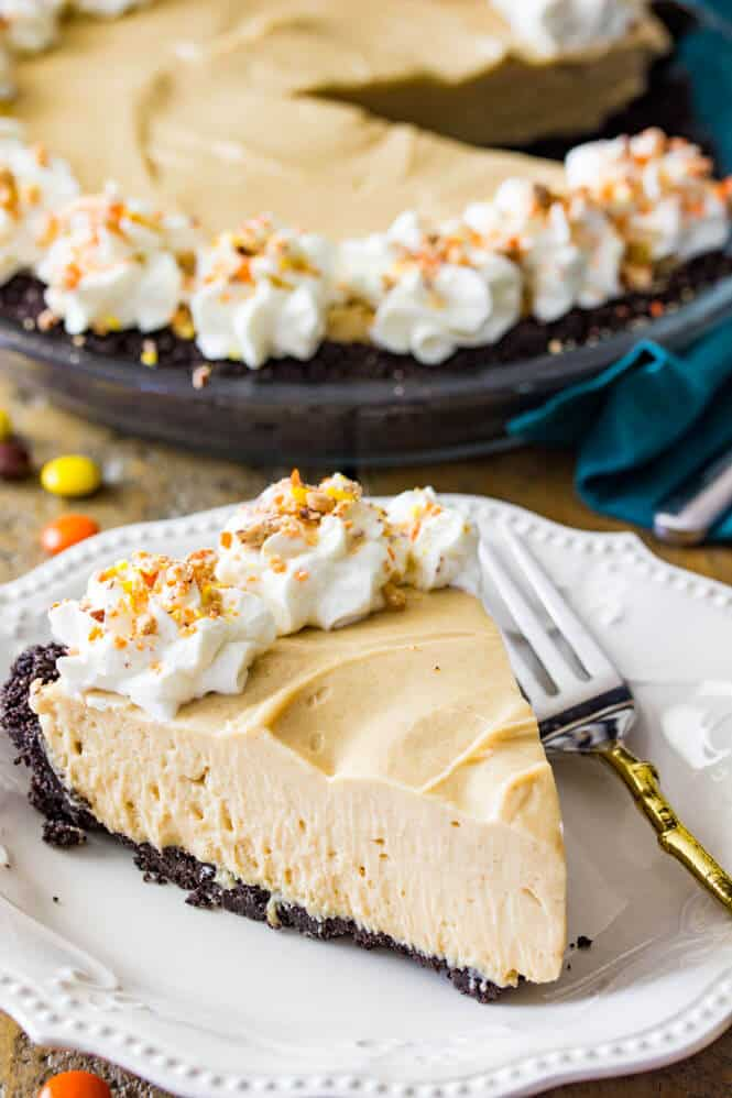 Slice of no bake peanut butter pie