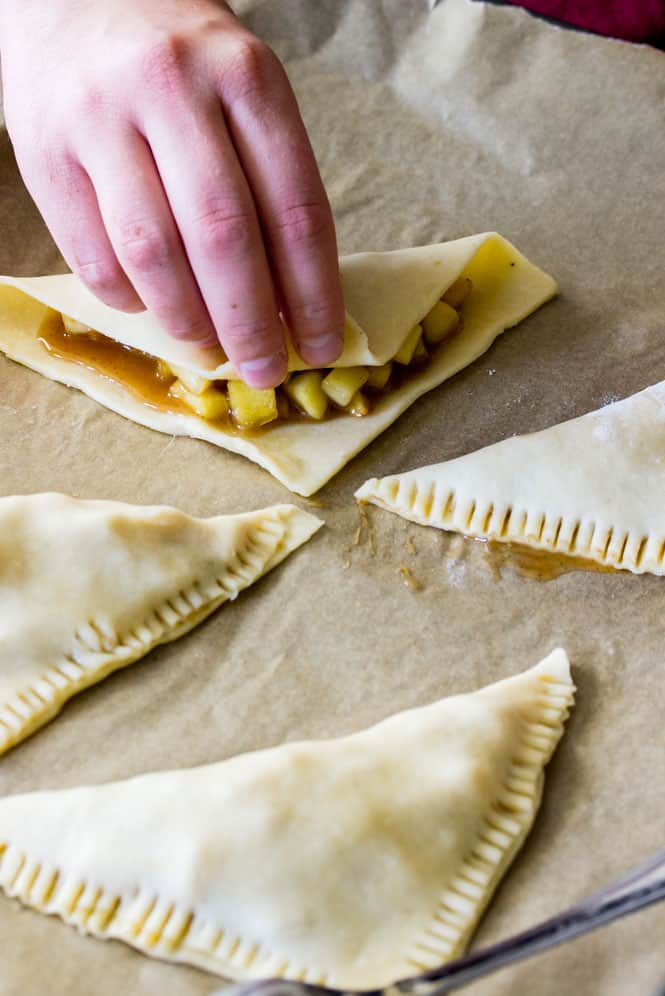 Folding over dough for apple turnovers || Sugar Spun Run