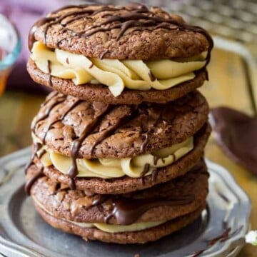 Stack of chocolate caramel sandwich cookies
