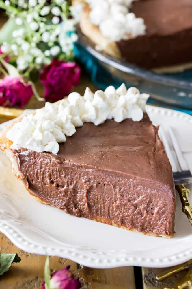 Slice of chocolate pie on plate