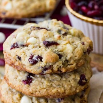 Stack of cranberry oatmeal white chocolate cookies