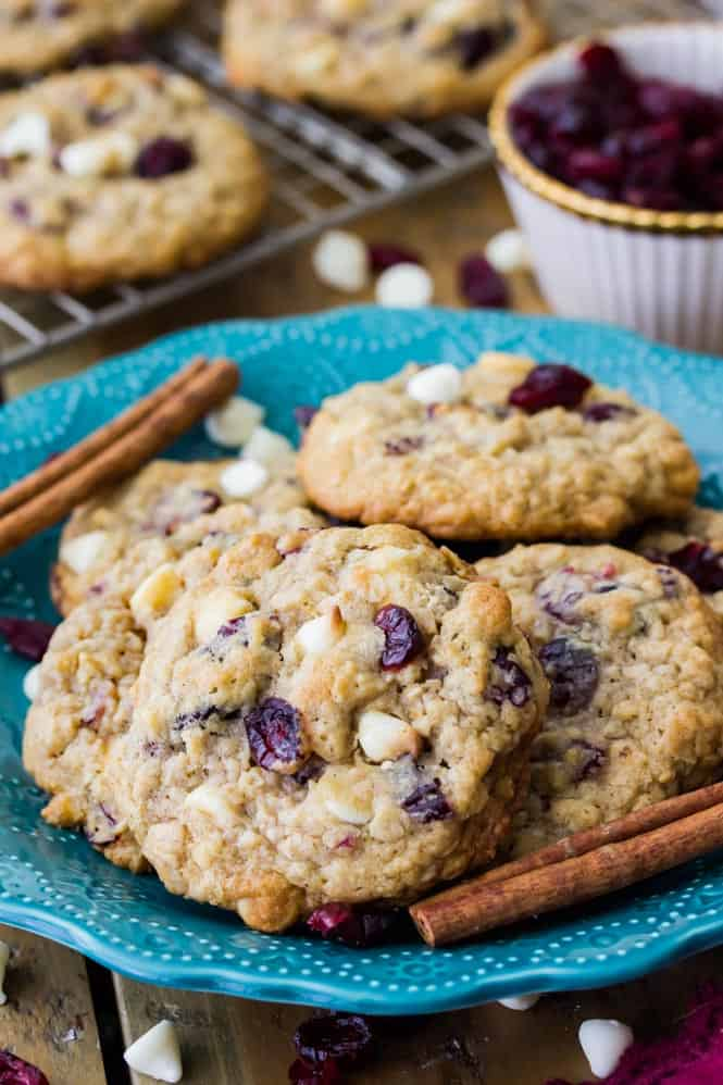 White Chocolate Cranberry Oatmeal Cookies || Sugar Spun Run