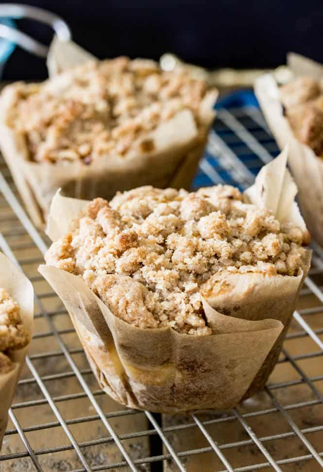 There's a cream cheese surprise inside these streusel-topped pumpkin muffins!