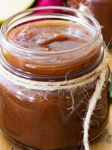 Apple butter in glass jar