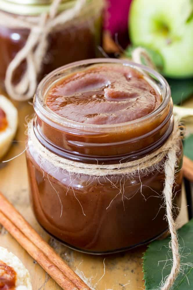 Jar of homemade apple butter