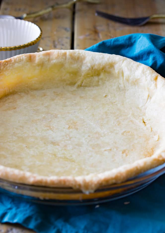 A golden brown blind-baked pie crust