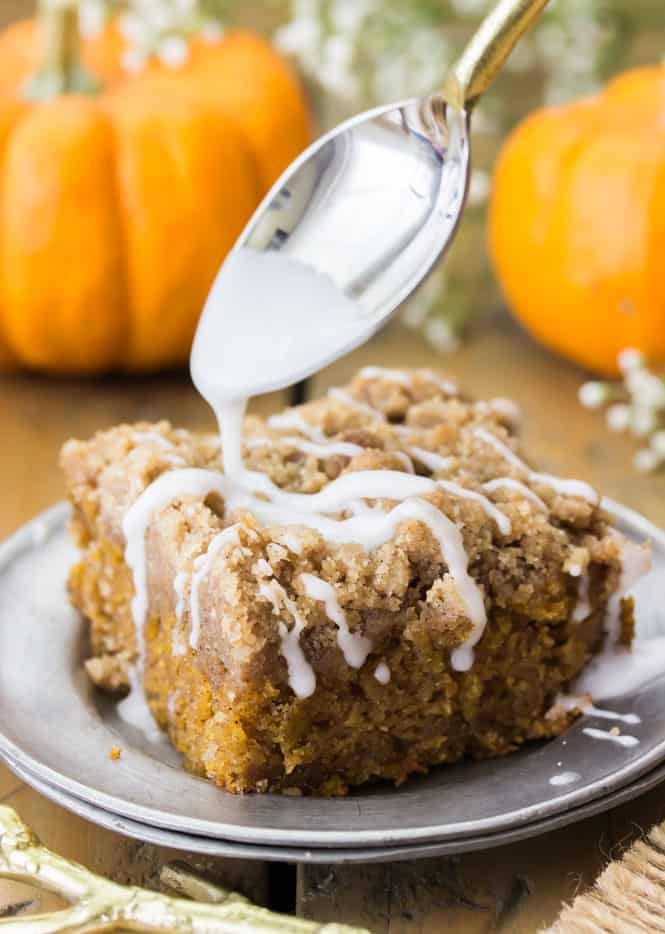 Pumpkin coffee cake with vanilla glaze