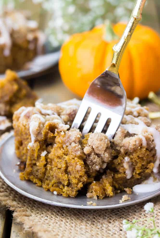 Super soft pumpkin coffee cake