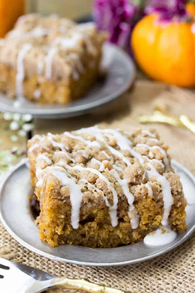 Pumpkin Coffee Cake slice with vanilla glaze