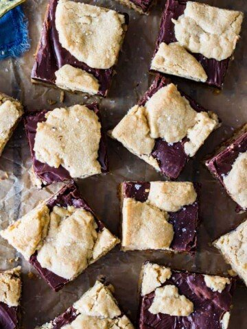 Overhead of peanut butter fudge bars