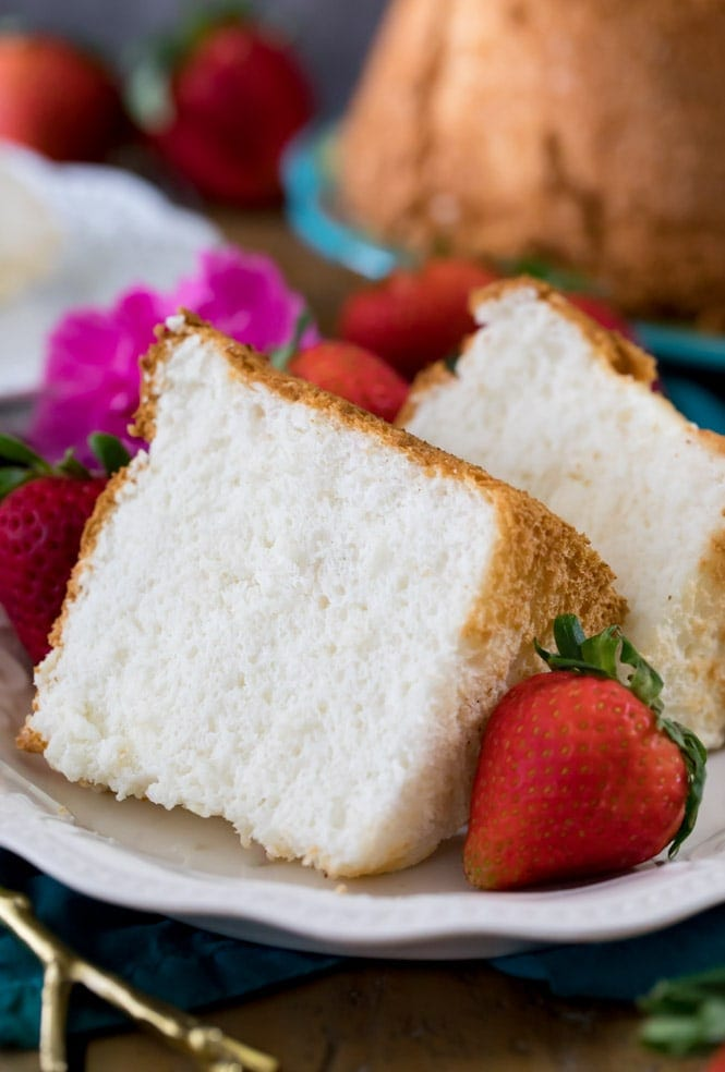 Two soft slices of Angel Food Cake on a plate
