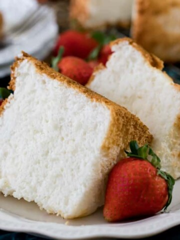 Slices of angel food cake on a plate