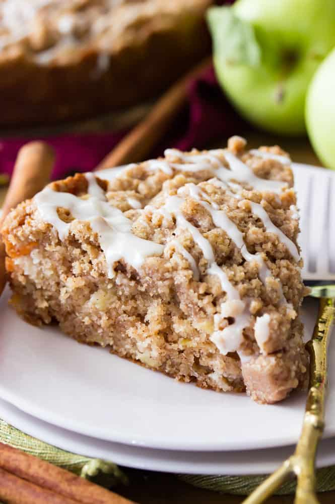 A slice of apple crumb cake