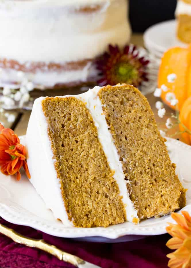 A perfect slice of pumpkin layer cake
