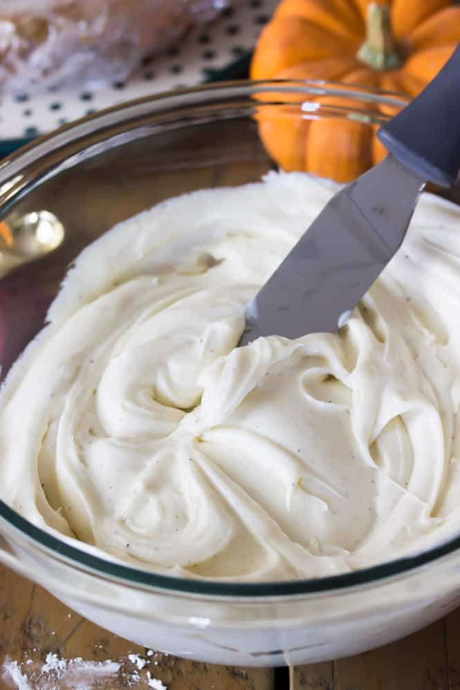 Vanilla bean cream cheese frosting for Pumpkin Layer Cake