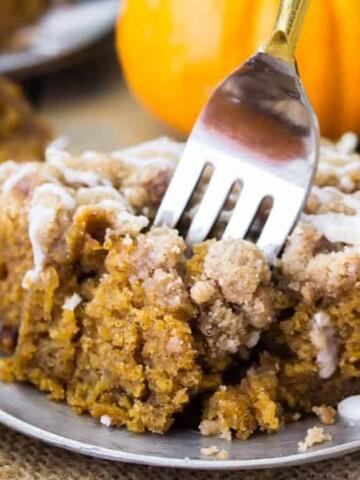 Pumpkin coffee cake on plate