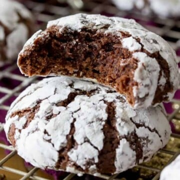 Stacked Chocolate crinkle cookies