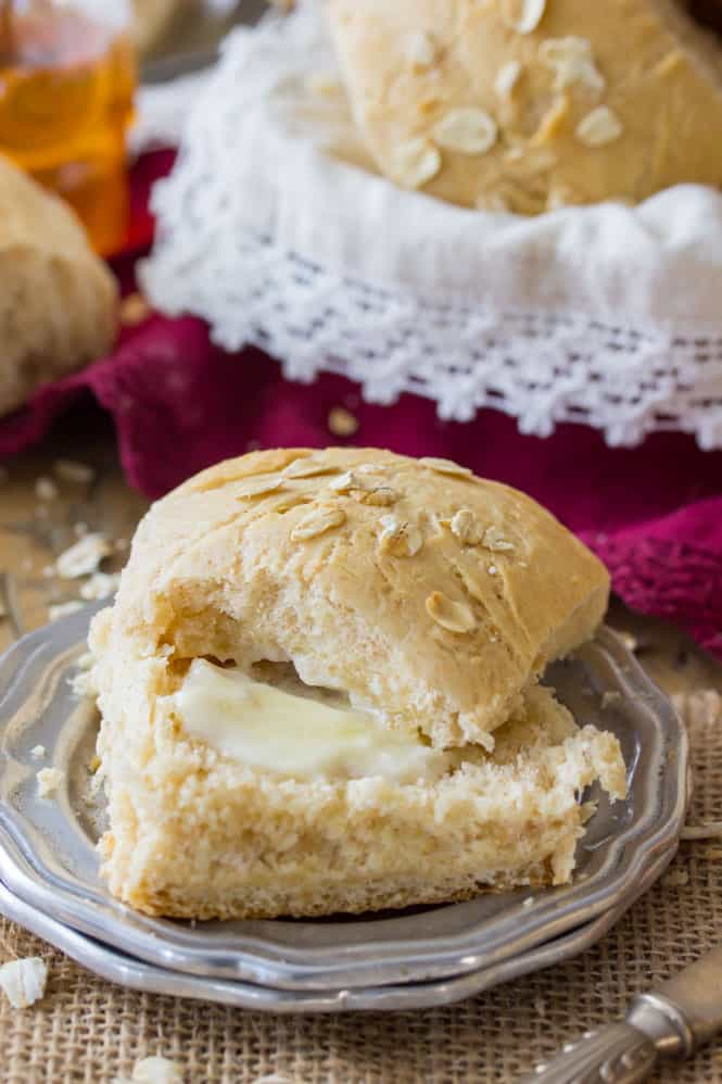 Honey wheat roll sliced and buttered
