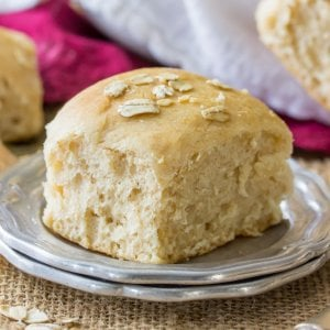 Honey wheat roll on plate