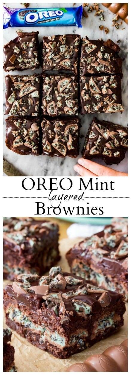 Oreo Mint Layered Brownies