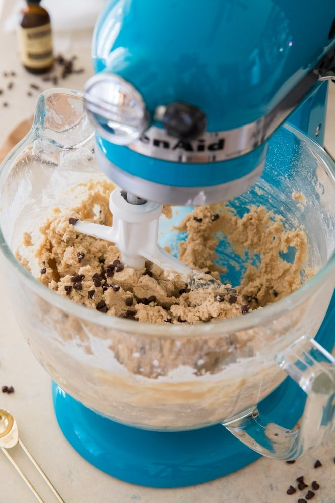 Mixing cookie dough bite dough in stand mixer