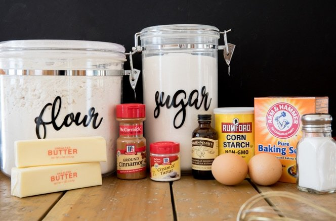 Ingredients for this Snickerdoodle cookie recipe